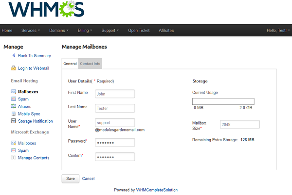 ModulesGarden Rackspace Email Extended For WHMCS Manage Mailboxes