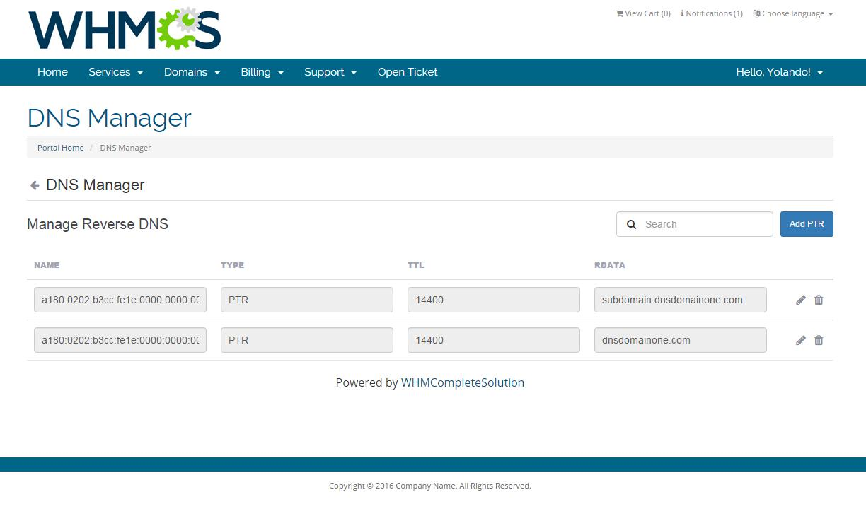 ModulesGarden DNS Manager For WHMCS - Manage Reverse DNS