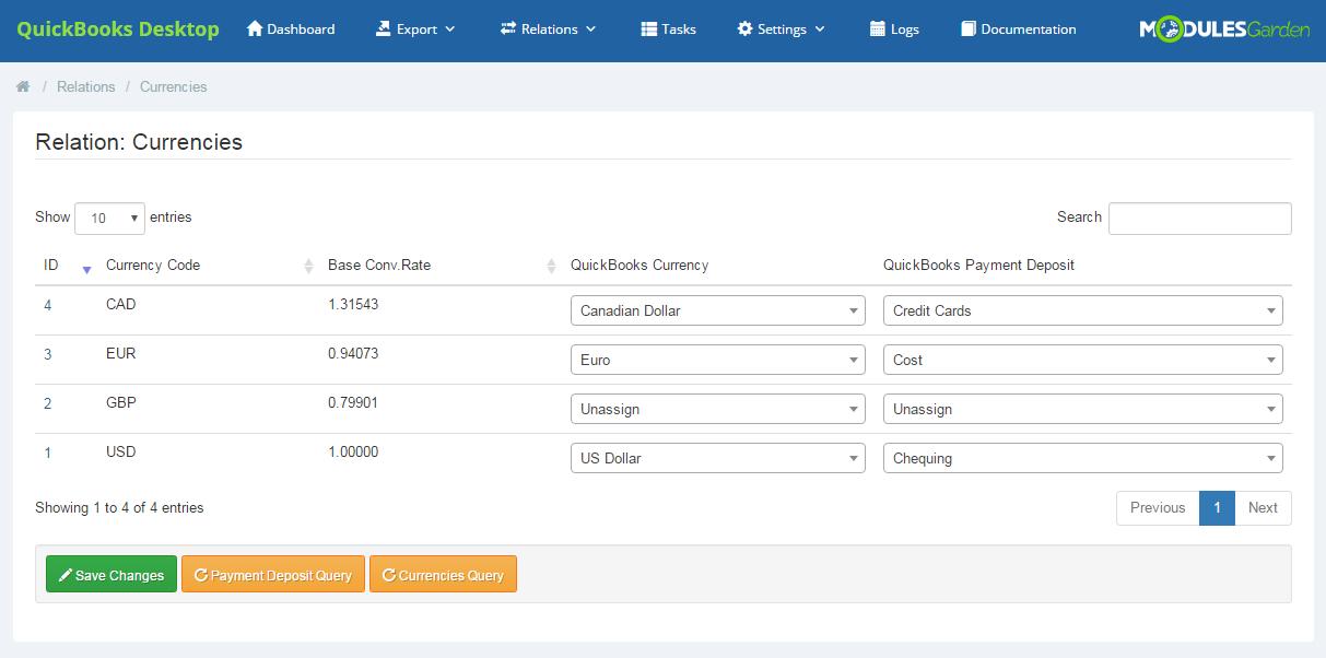 ModulesGarden QuickBooks Desktop For WHMCS - Relations