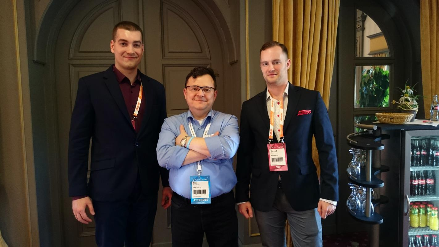 ModulesGarden CEO Konrad Keck and CMO Piotr Dołęga all smiles with Alex Goncharov from Ingram Micro Inc. Thank you for the recommendation!
