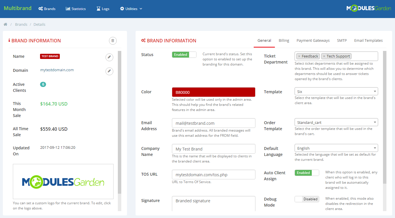 ModulesGarden Multibrand For WHMCS 2.0 - Brand Configuration
