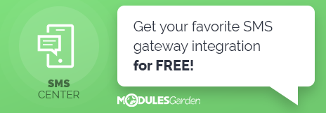 Free SMS Gateway Integration With WHMCS - SMS Center For WHMCS Module By ModulesGarden