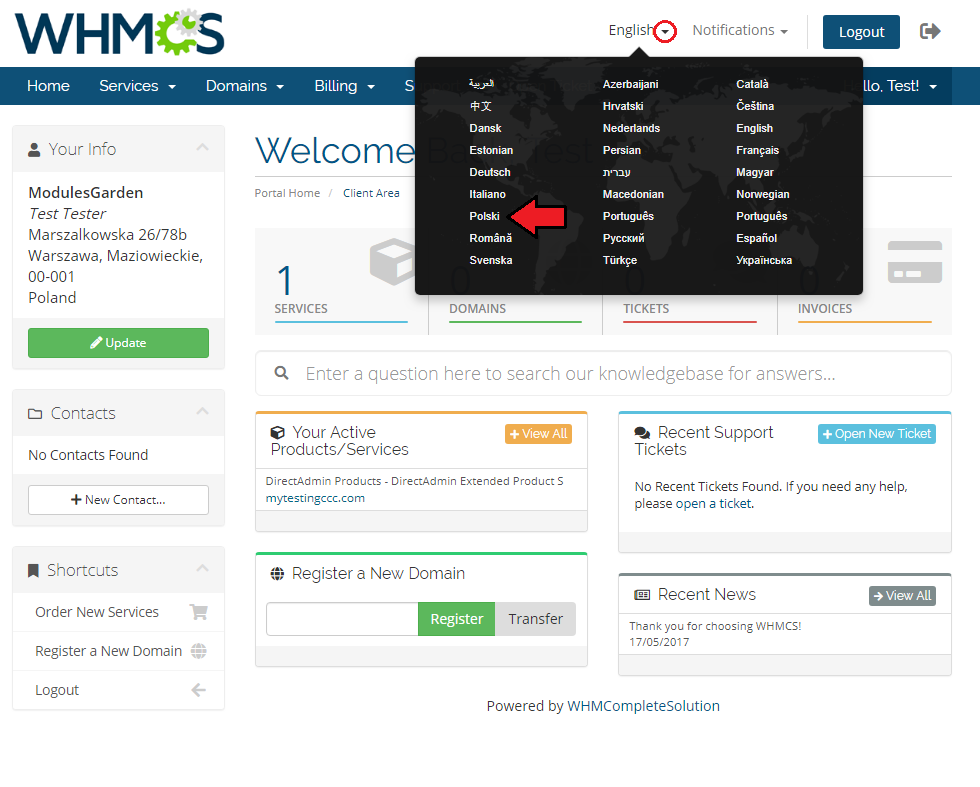 Polish Language Translation For WHMCS by ModulesGarden - Client Area