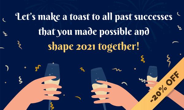Let's make a toast to all past successes that you made possible and shape 2021 together - ModulesGarden