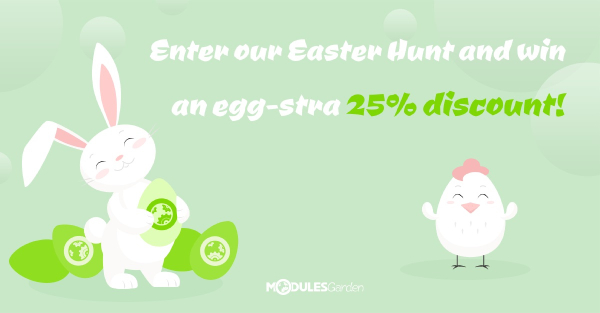 Spring to action with an eggstra 25% promo code on all ModulesGarden modules!